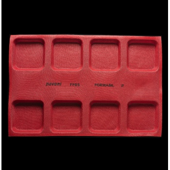 Pavoni Microperforated Eclair Silicone Mat for Dropping Machine - 600 mm x 400 mm - 24 Indents - 125x25x5 mm
