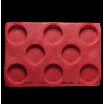 Pavoni Microperforated Silicone Mold - Deep Round Molds - 600 mm x 400 mm - 8 Indents - Ø120x30 mm - 332 ml
