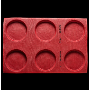 Pavoni Microperforated Silicone Mold - Large Deep Round Molds - 600 mm x 400 mm - 6 Indents - Ø150x30 mm - 495 ml