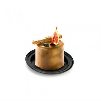 Round Individual Plastic Pastry Plate - Black - Int. Ø 79mm - Ext. Ø 101mm