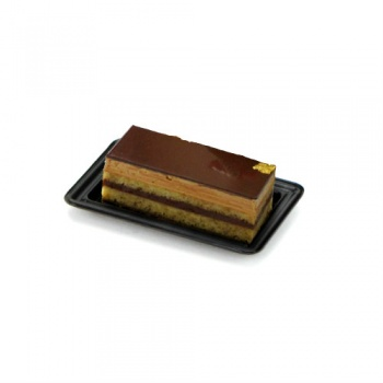 Rectangular Individual Plastic Pastry Plate - Black - Int. 82x42 mm - Ext.104x65mm