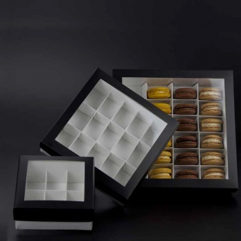 Deluxe Window Box for Macarons - 15 Macarons - 180x180x50mm - Black Top White Base - Pack of 36 Boxes