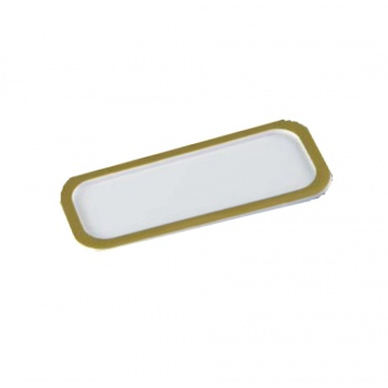 Deluxe White Rectangular Pastry Support Plate with Matte Gold Rims - 134 x 50 mm - Pack of 100