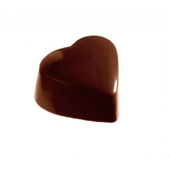 Polycarbonate Chocolate Smooth Heart Mold 31 x 35 x 18 mm - 4x8 Cavity - 15 gr - 275x175x24 mm