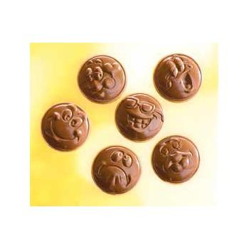 Polycarbonate Chocolate Assorted Smiley Emoji Mold -35x35x7 mm -3x6 Cavity - 6 fig - 6 gr - 275x135x24 mm