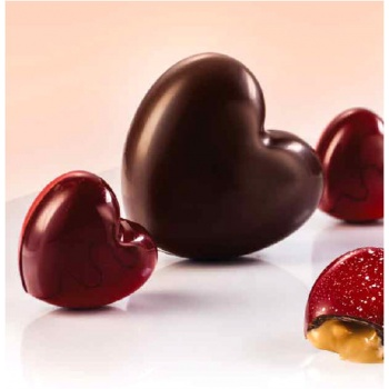 Polycarbonate Big Heart Chocolate Mold - 6 pcs - 45gr - 75x70x22 mm