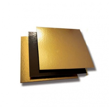 Black/Gold Square Cake Board - 22cm - 8.6'' - 50pcs