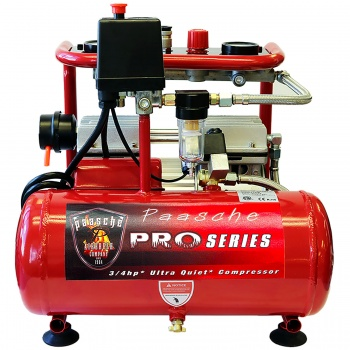 3/4 HP Oilless Ultra Quiet Compressor with Tank, Regulator and Moisture Trap - 4 Airbrushes Out.