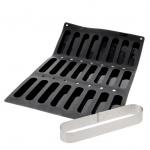 De Buyer MOUL FLEX PRO Silicone Molds - Oval Fingers Mold - 14 x 3 x 2 cm  - 24 Cavity