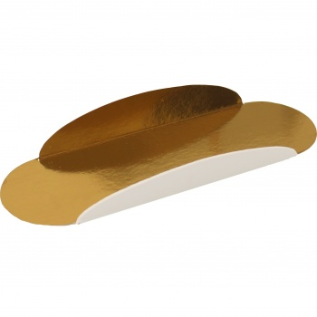 Ovale for Eclair  Individual Monoportion Folded Boards - Gold Inside White Outside - 13 x 4 cm - 250 pcs