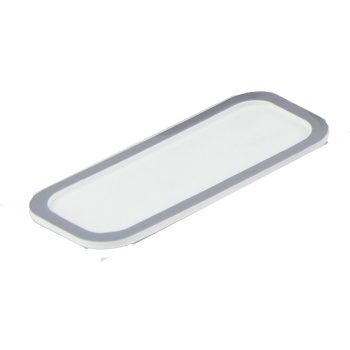 Deluxe White Rectangular Pastry Support Plate with Matte Silver Rims - 134 x 50 mm - Pack of 100