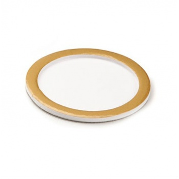 Deluxe White Round Pastry Support Plate With Matte Gold Rims - Ø74mm Inside - Pack of 100