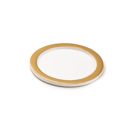 Deluxe White Round Pastry Support Plate With Matte Gold Rims - Ø74mm Inside