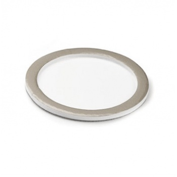 Deluxe White Round Pastry Support Plate With Matte Silver Rims - Ø74mm Inside - Pack of 100