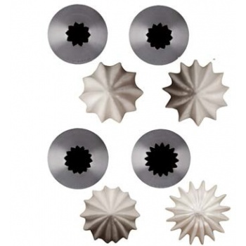 De Buyer Stainless Steel Petits Fours French Star Pastry Tips - Ø17.5 mm- 18 dents