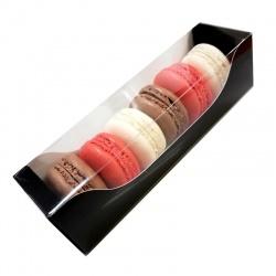 Deluxe Bi Frame Macaron Box - 6 Macarons - Black Outside and White Inside