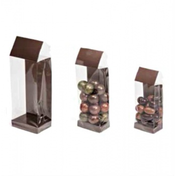 Deluxe Confectionnery Display Bags - 63 x 40 x 220 mm - Mat Galaxy Brown