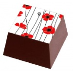 Chocolate Transfer Sheets - Red Flowers White Background - Pack of 20 Sheets - 135 x 275 mm