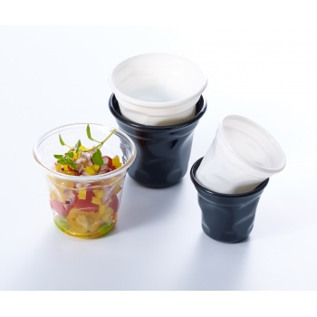 White Cabosse Plastic mini Cups - Ø75 x 65 mm - 150ml - Pack of 100
