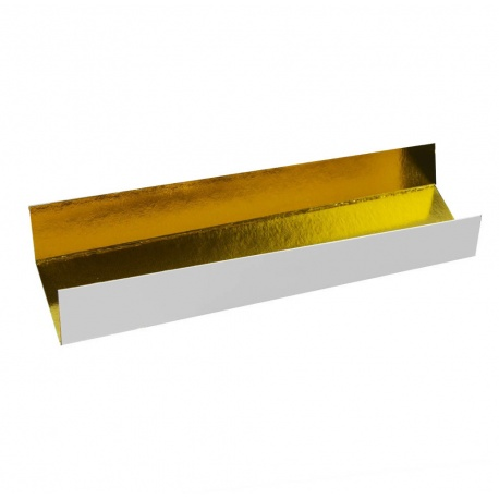 Deluxe Rectangular Individual Monoportion Folded Boards - Gold Inside White Outside 13 x 4 cm - Pack of 250