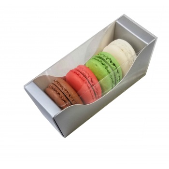 Deluxe Bi Frame Macaron Box - 4 Macarons - Galaxy Silver - Pack of 50