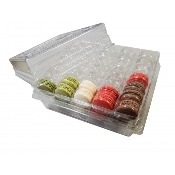 Clear Heavy Plastic Thermoformed Macarons Storage Boxes with Inserts - Holds 70 Macarons - One box and 4 Inserts Set - 3 Sets