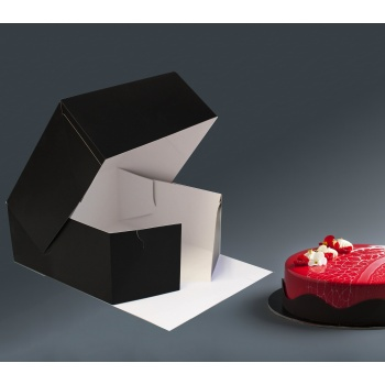 Deluxe Cake Entremets Pastry Boxes - Matte Black - 23 x 23 x 10 cm - Pack of 50