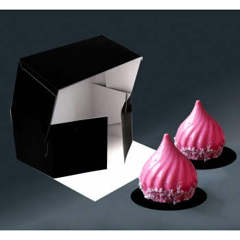 Deluxe Cake Entremets Pastry Boxes - Matte Black - 21 x 11 x 10 cm - Pack of 50