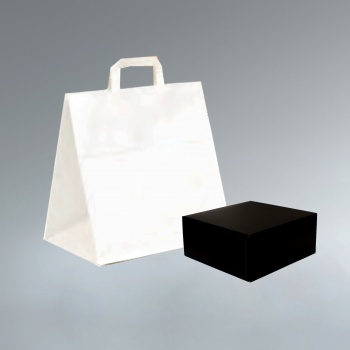 White Kraft Paper Pastry Box Carrying Bags - Wide Base - 260 x 180 x 240 mm - Pack of 50