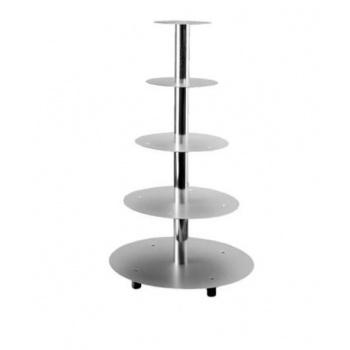 Aluminum Multi Level Wedding Cake Stand Display - 5 Levels Cakes - Ø 20 - 26 - 32 - 40 - 45 cm