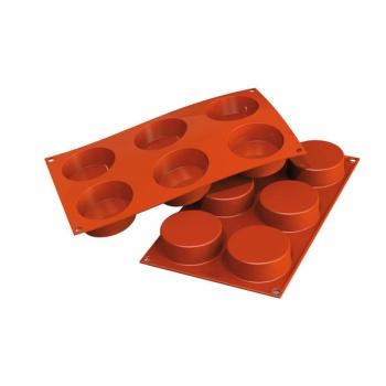 Silikomart Silicone Cylinders Molds - Ø 70 x 27mm - 106 ml - 6 Cavity