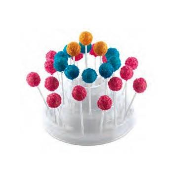 Clear Cake Pops Display  -  Holds 27 Pops - Ø 225 x 110 mm - White Base