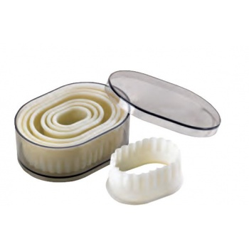 Nylon & Fiberglass Cookie Cutter Set - Oval Fluted - 7 pces set