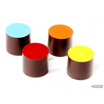 Magnetic Polycarbonate Chocolate Mold Round High Cylinder - 22.5 x 22.5 x 30 mm - 4x6 pc - 9.5 gr - 275x135x24 mm