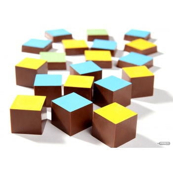 Magnetic Polycarbonate Chocolate Mold Straight Cube - 23 x 23 x 12 mm - 3 x 6 pc - 12 gr - 275x135x24 mm