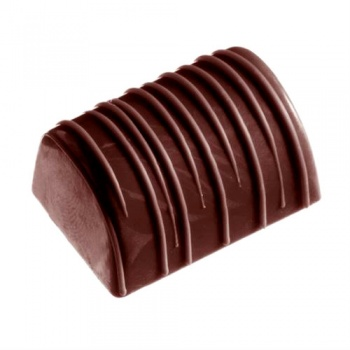Polycarbonate Chocolate Mold log with Stripes  - 36x26x18 mm - 4x8 pc - 18 gr -275x175x24mm