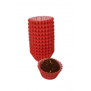Glassine Chocolate Candy Cups No.4 - 1''x3/4'' - Red - 1000pcs