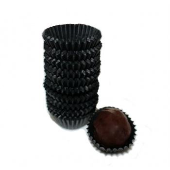 Glassine Chocolate Candy Cups No.4 - 1''x3/4'' - Black - 300pcs