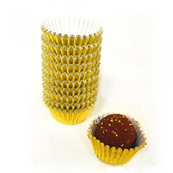 Paper Chocolate Candy Cups No.4 - 1''x 3/4'' - Gold - 1000 pcs