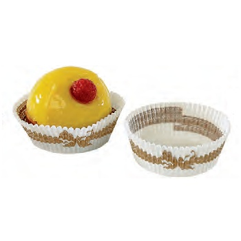Paper Chocolate Candy Cups No.4 - 1''x 3/4'' - White with Gold Stripes - 1000pcs