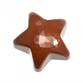 Polycarbonate Chocolate Mold  Origami Faceted Star 35,50x35,50x17 mm - 12 gr - 3 x 7 Cavity - 275 x 135 x 24 mm