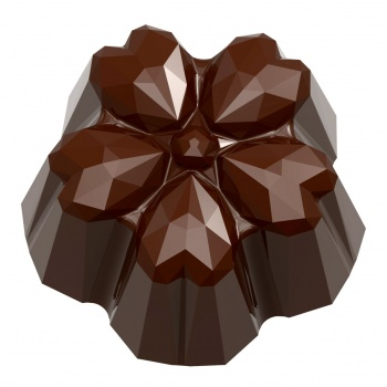 Polycarbonate Chocolate Origami Faceted Heart Mold 31 x 30 x 15 mm - 9.5 gr - 3 x 7 Cavity - 275 x 135 x 24 mm