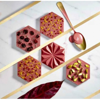 Polycarbonate Chocolate Ruby Tablet Mold 103.50 x 89.50 x 13.50 mm - 56 gr - 1 x 2 Cavity - 275 x 135 x 24 mm