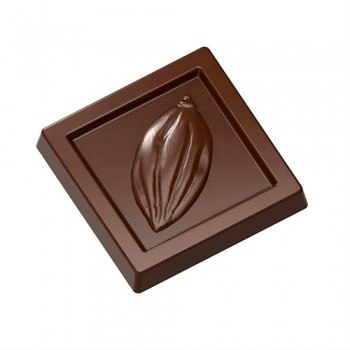 Polycarbonate Chocolate Cocoa Pod Napolitain Mold 31.5 x 31.5 x 5 mm - 5 gr - 3 x 7 Cavity - 275 x 135 x 24 mm
