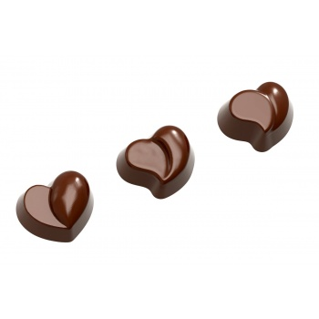 Polycarbonate Chocolate Assorted Heart Molds 3 Fig - 29 x 34 x 17 mm - 12 gr - 3 x 7 Cavity - 275 x 135 x 24 mm