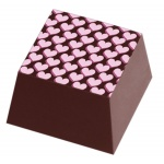 Chocolate Transfer Sheets - Small Pink Valentine Hearts TWICE - Pack of 20 Sheets - 135 x 275 mm