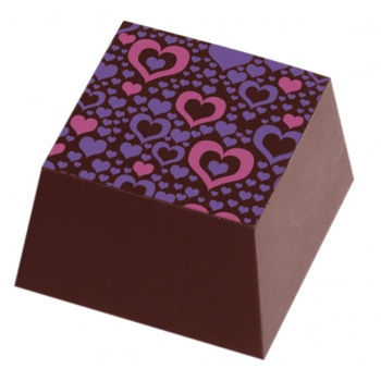 Chocolate Transfer Sheets - Pink and Purple Heart BONAVITA - Pack of 20 Sheets - 135 x 275 mm