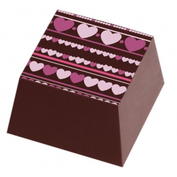 Chocolate Transfer Sheets - Pink Lazlo Hearts - Pack of 20 Sheets - 135 x 275 mm