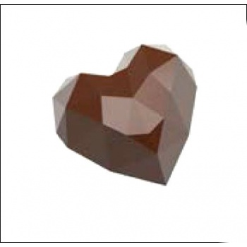 Polycarbonate Chocolate Molds - Origami Faceted Hearts 34x33x20 mm - 13.5 gr - 21 Cavity - 135x275x20 mm