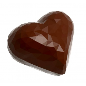 Polycarbonate Chocolate Origami Faceted Small Heart Molds - 34x28.5x12 mm - 6.5 gr - 3 x 7 Cavity - 275 x 135 x 24 mm